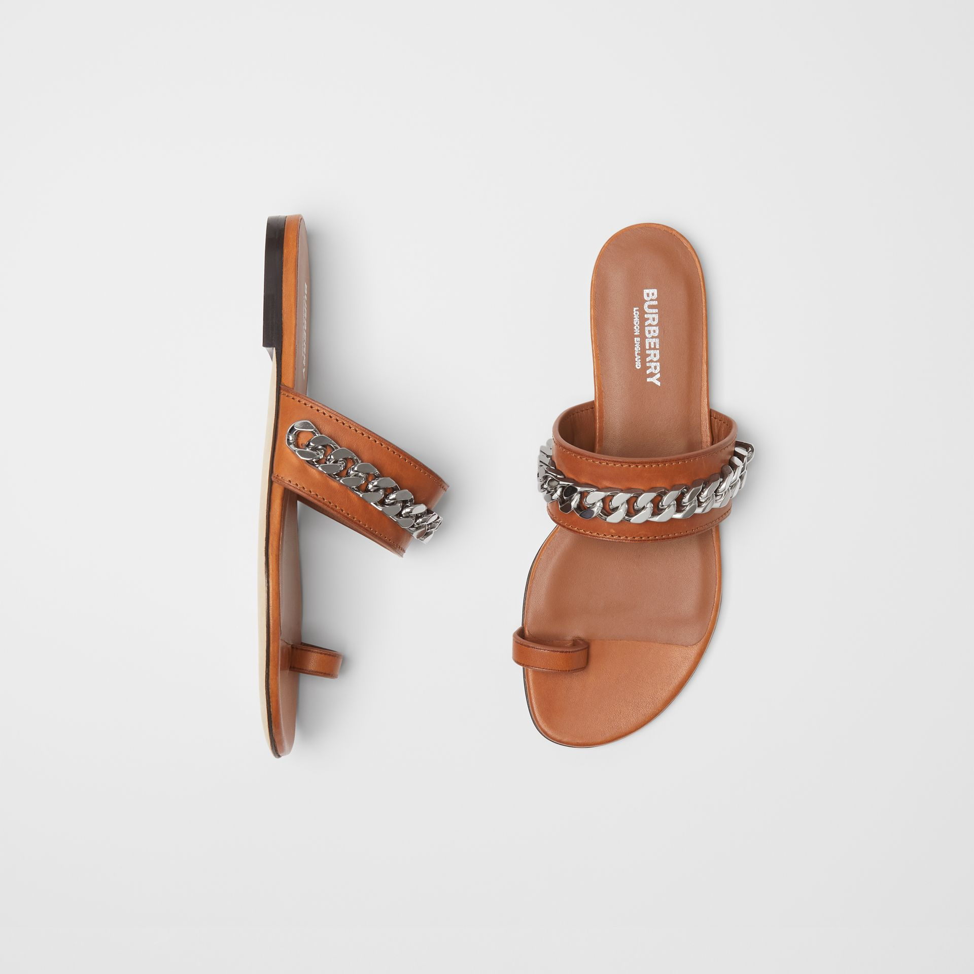 Chain Detail Leather Sandals in Amber - Women | Burberry Singapore - gallery image 0