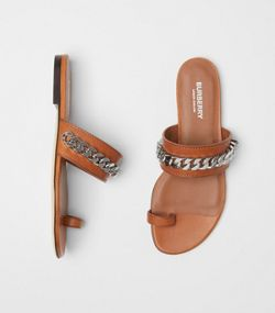 e4dbffb8b44 Chain Detail Leather Sandals in Amber