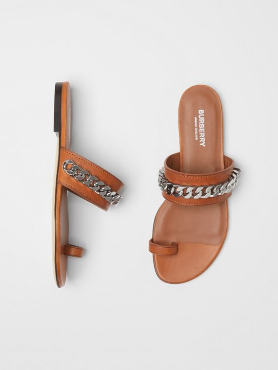Chain Detail Leather Sandals in Amber
