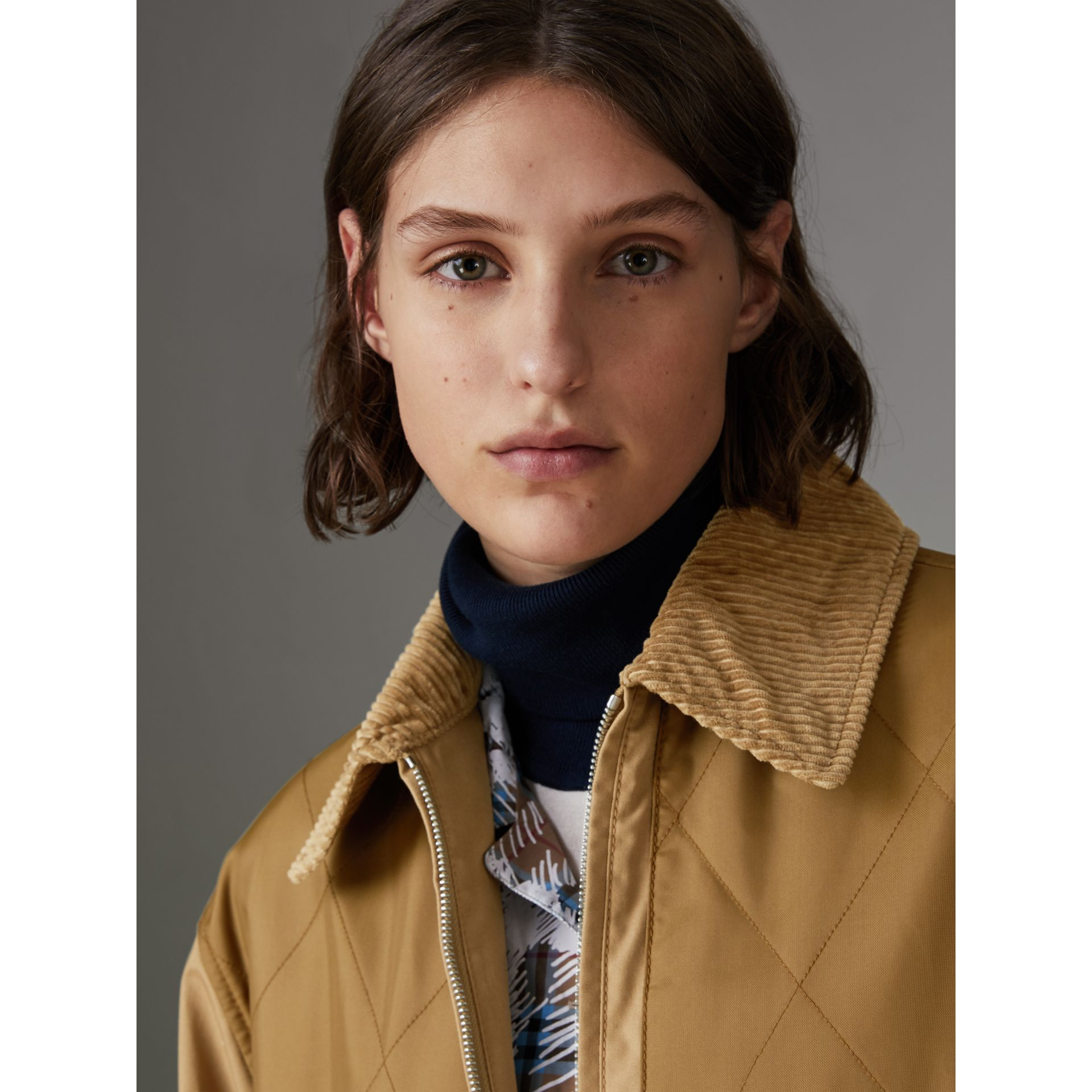 Quilted Panel Cotton Blend Jacket in Camel - Women | Burberry - gallery image 4