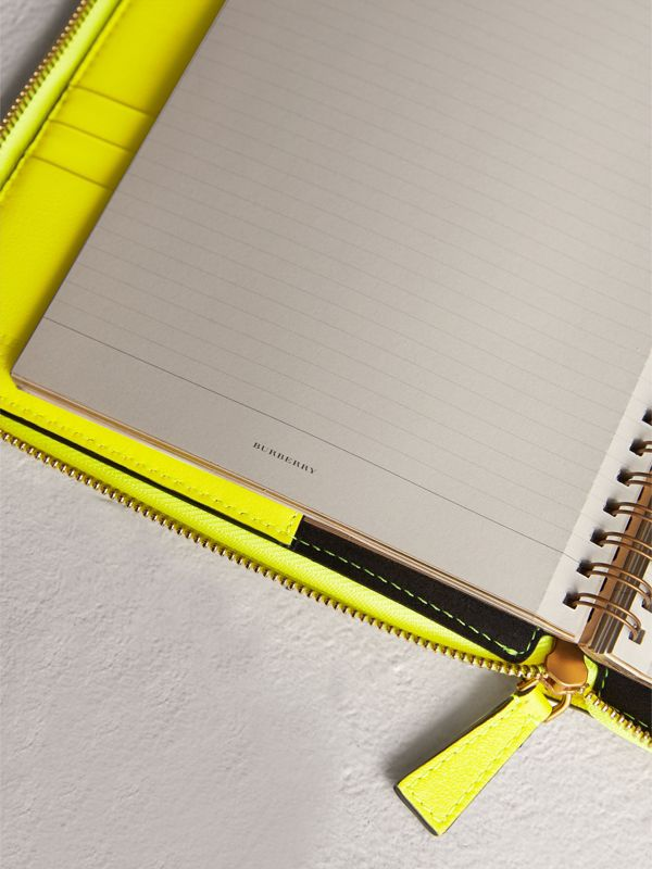 Embossed Grainy Leather Ziparound A5 Notebook Case in Bright Yellow | Burberry - cell image 3