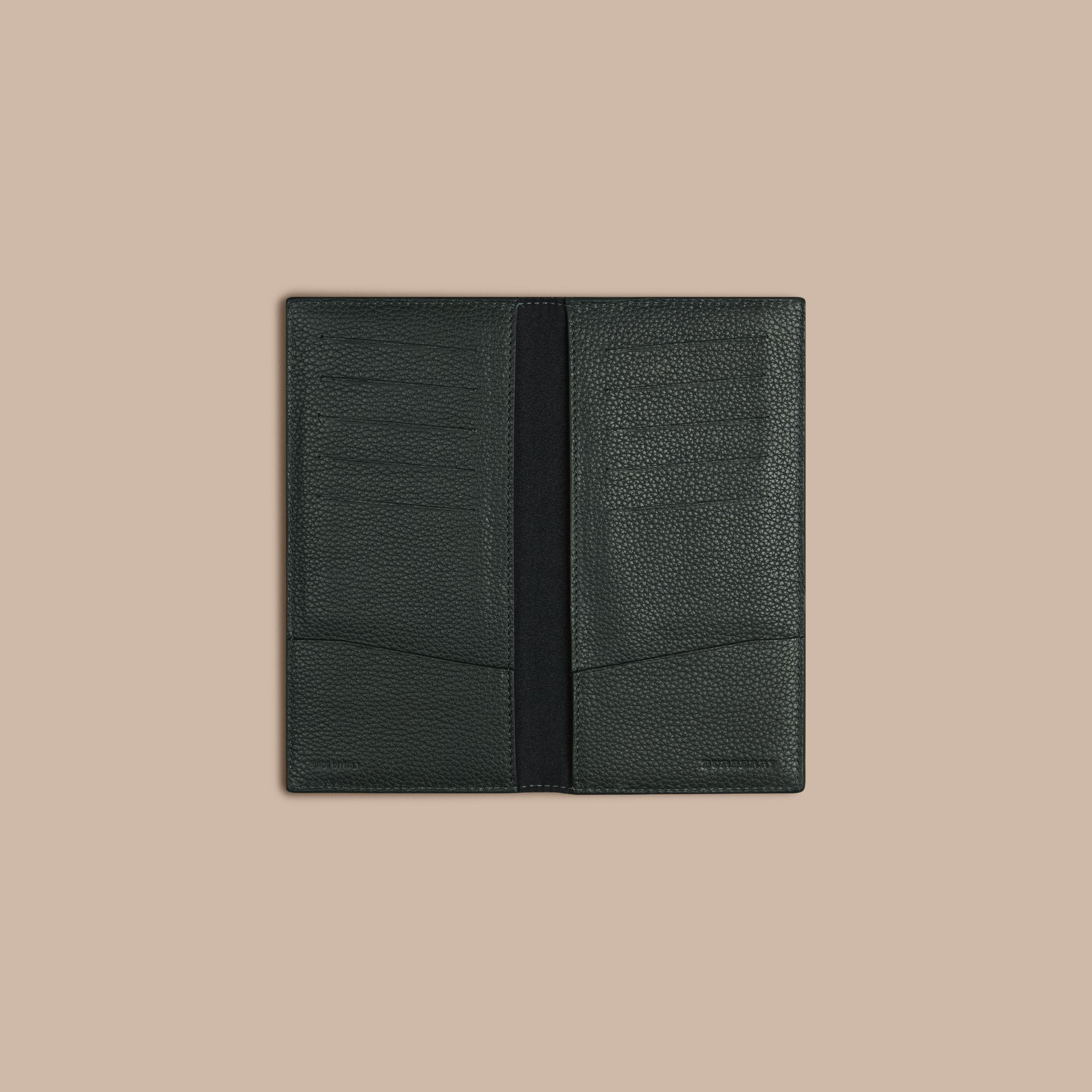 Grainy Leather Travel Card Case in Dark Forest Green - gallery image 2