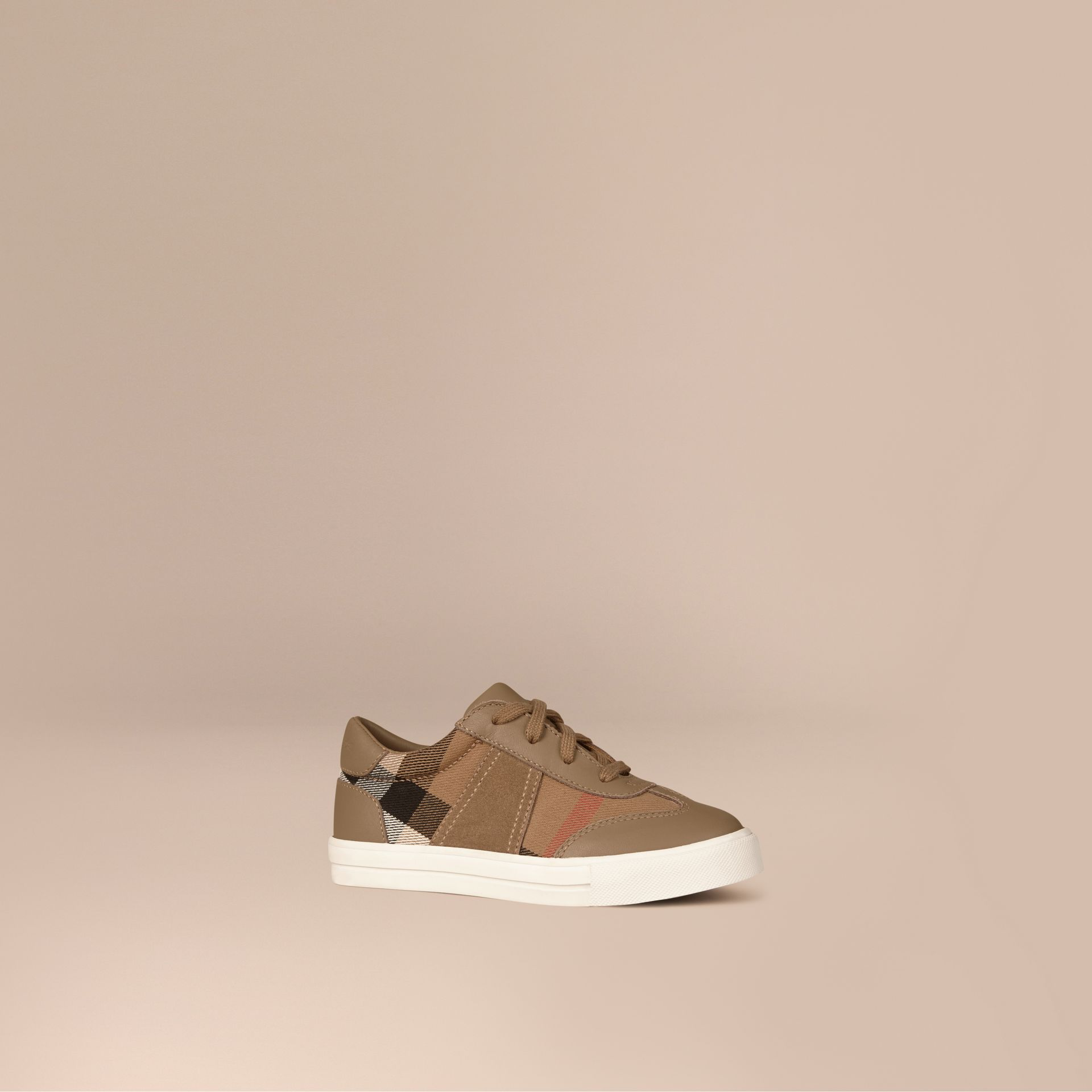 House Check and Leather Trainers in Mink Grey | Burberry - gallery image 1
