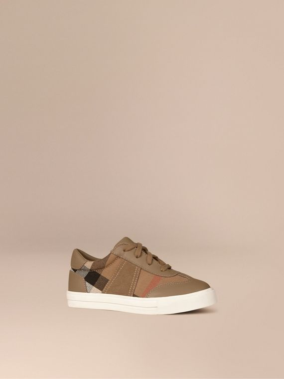 House Check and Leather Trainers in Mink Grey