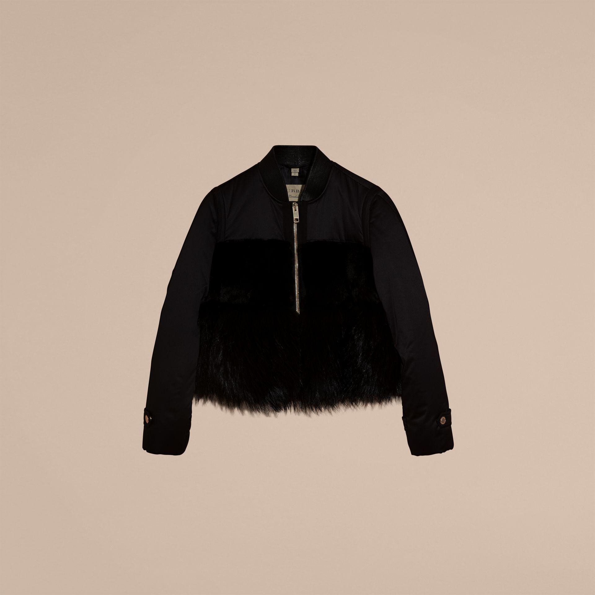 Black Fur-trimmed Satin Bomber Jacket - gallery image 4
