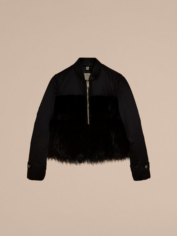 Black Fur-trimmed Satin Bomber Jacket - cell image 3
