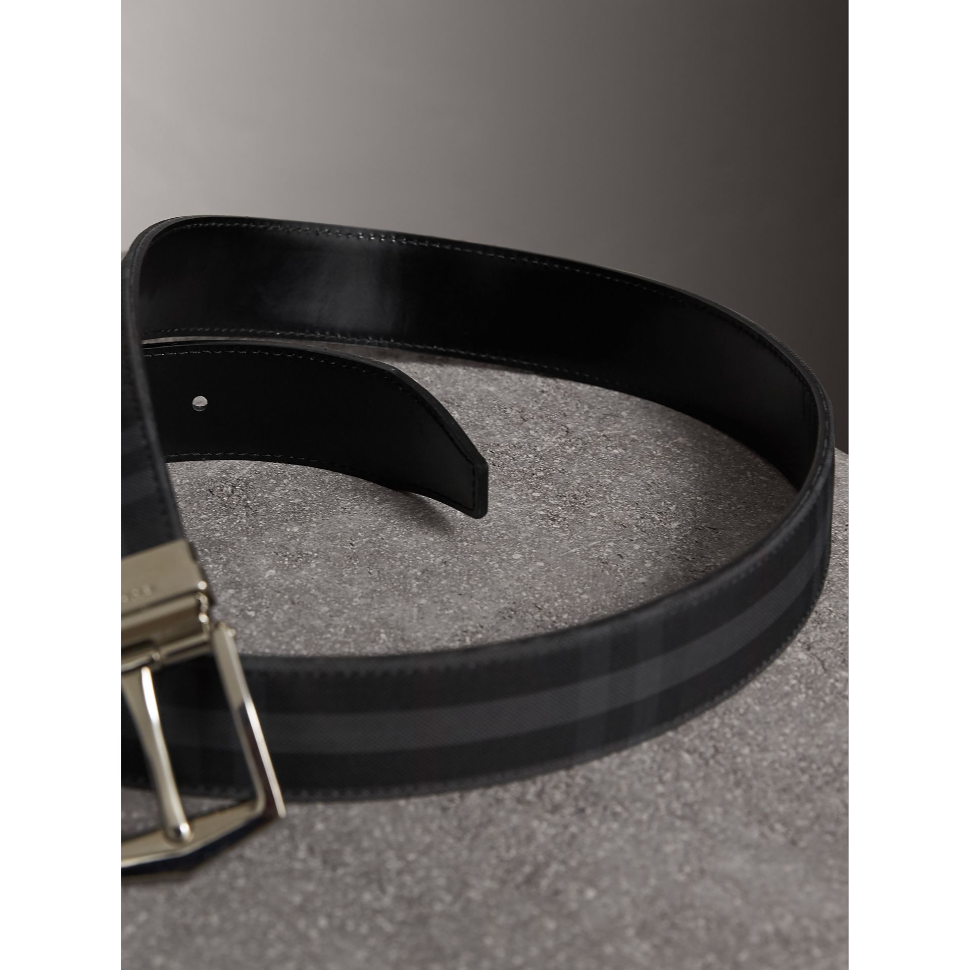 Reversible Horseferry Check and Leather Belt in Charcoal/black - Men | Burberry United States - gallery image 3