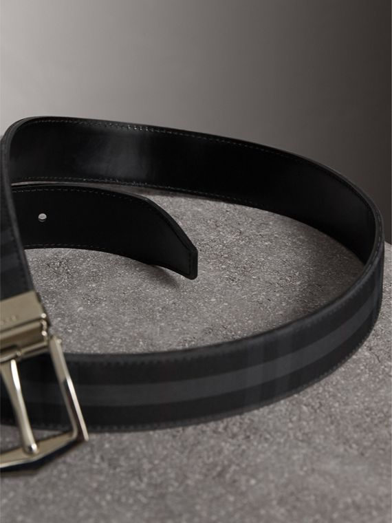 Reversible Horseferry Check and Leather Belt in Charcoal/black - Men | Burberry - cell image 2