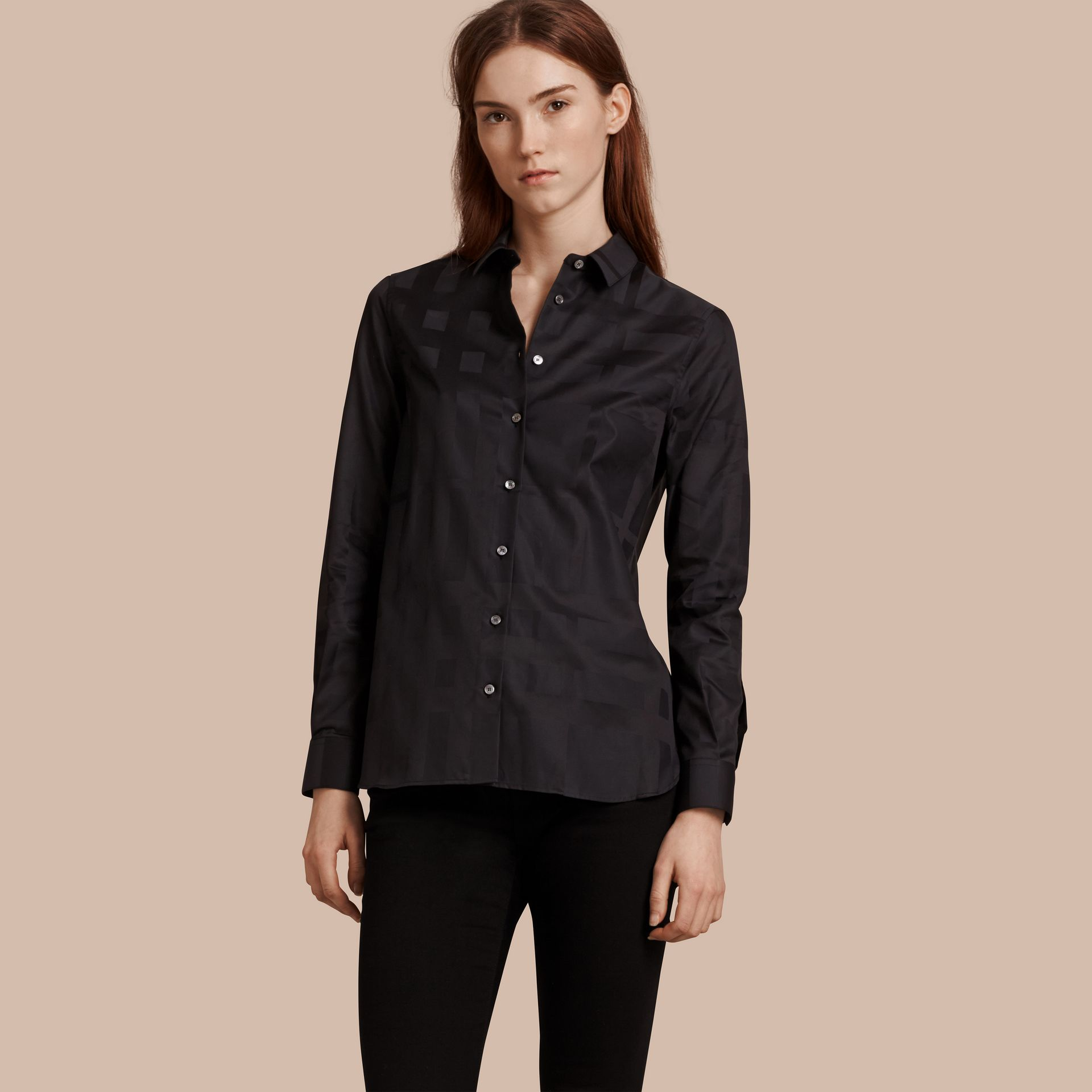 Check Jacquard Cotton Shirt in Black - Women | Burberry Australia - gallery image 1