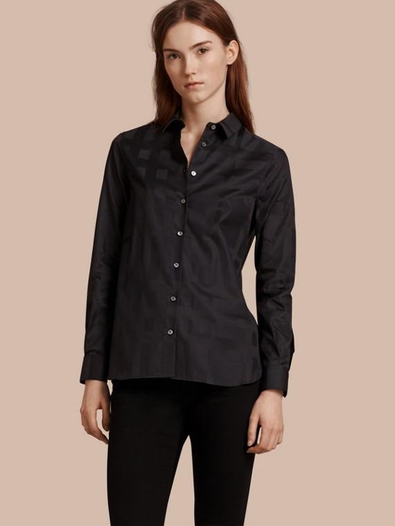 Camisa de algodón con checks en jacquard Negro