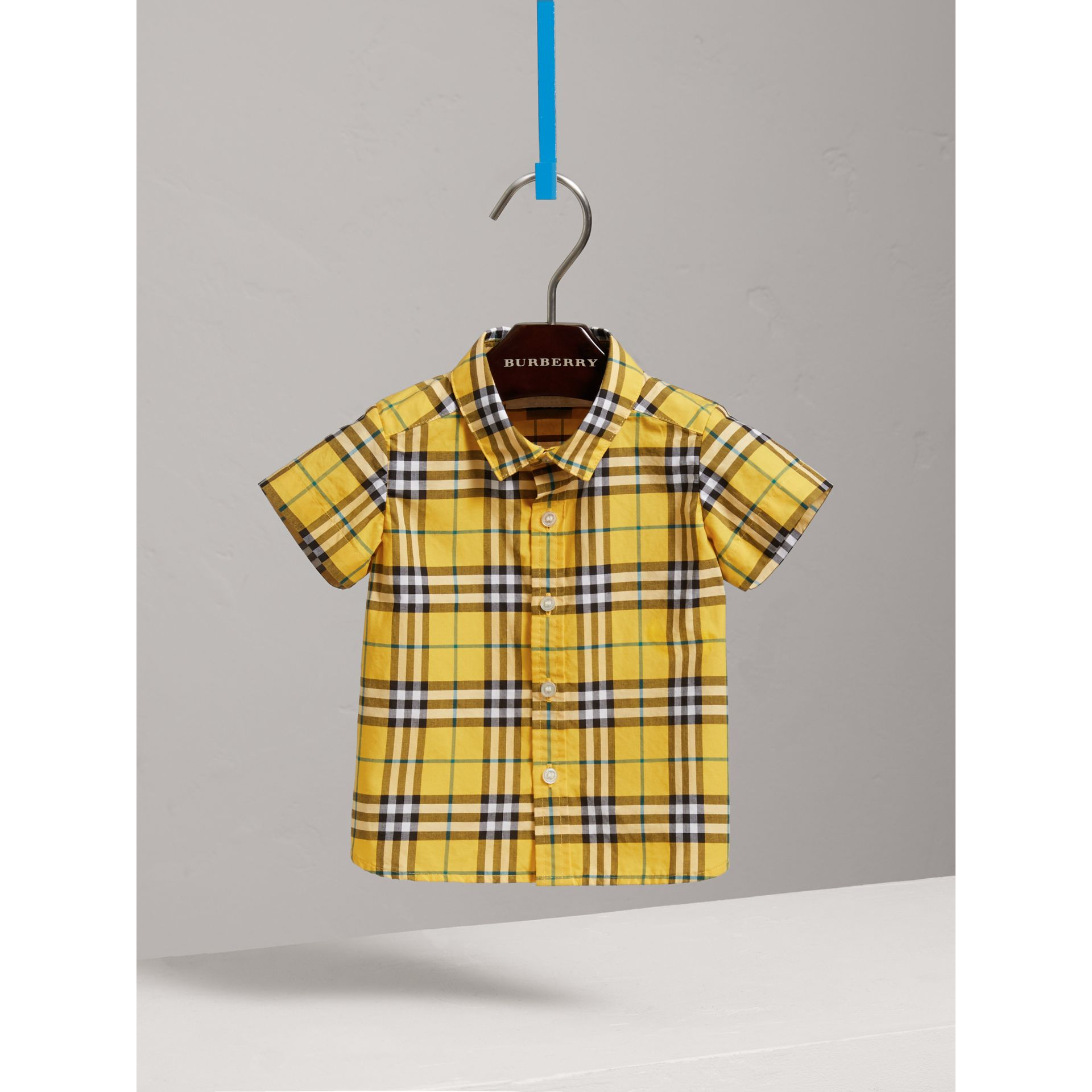 Short-sleeve Check Cotton Shirt in Bright Yellow | Burberry - gallery image 0