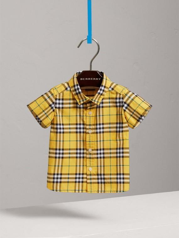Рубашка в клетку с короткими рукавами (Яркий Желтый)