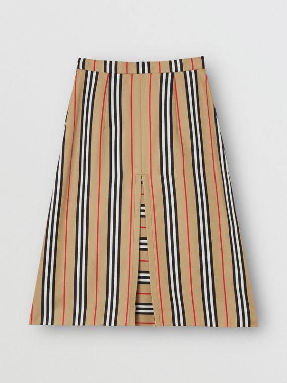 Box Pleat Detail Icon Stripe A-line Skirt in Archive Beige
