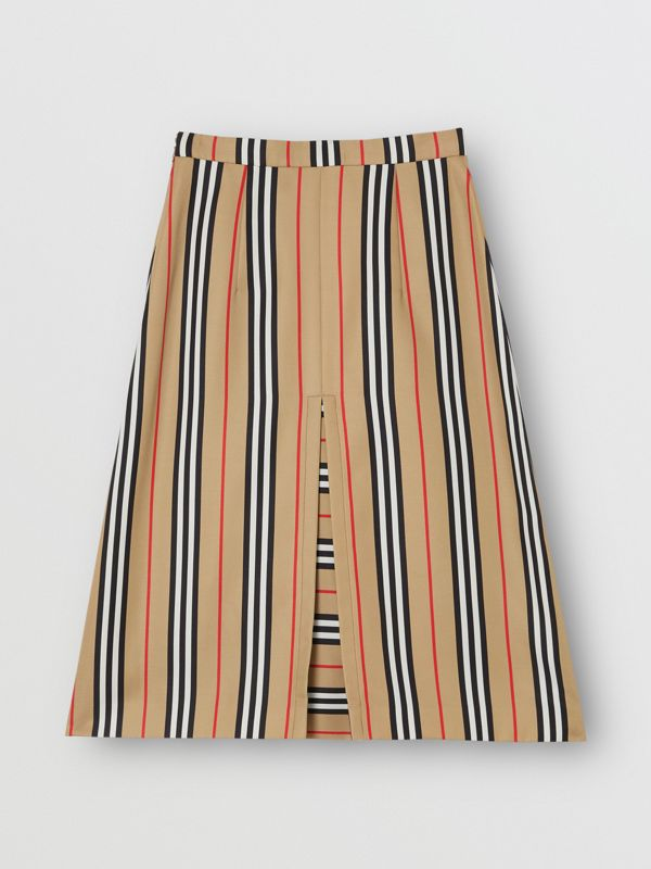 Box Pleat Detail Icon Stripe A-line Skirt in Archive Beige - Women | Burberry - cell image 3