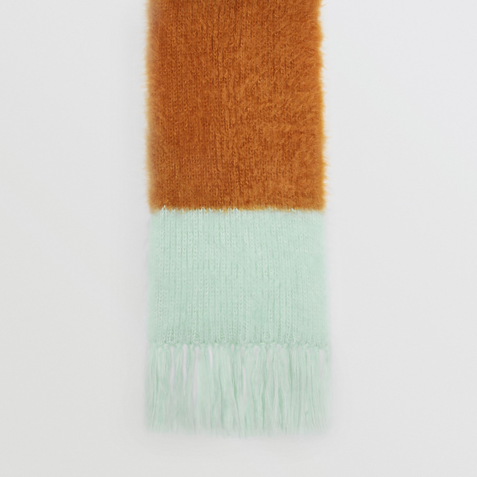 Colour Block Chunky Knit Mohair Silk Scarf in Sand - Women | Burberry - gallery image 4