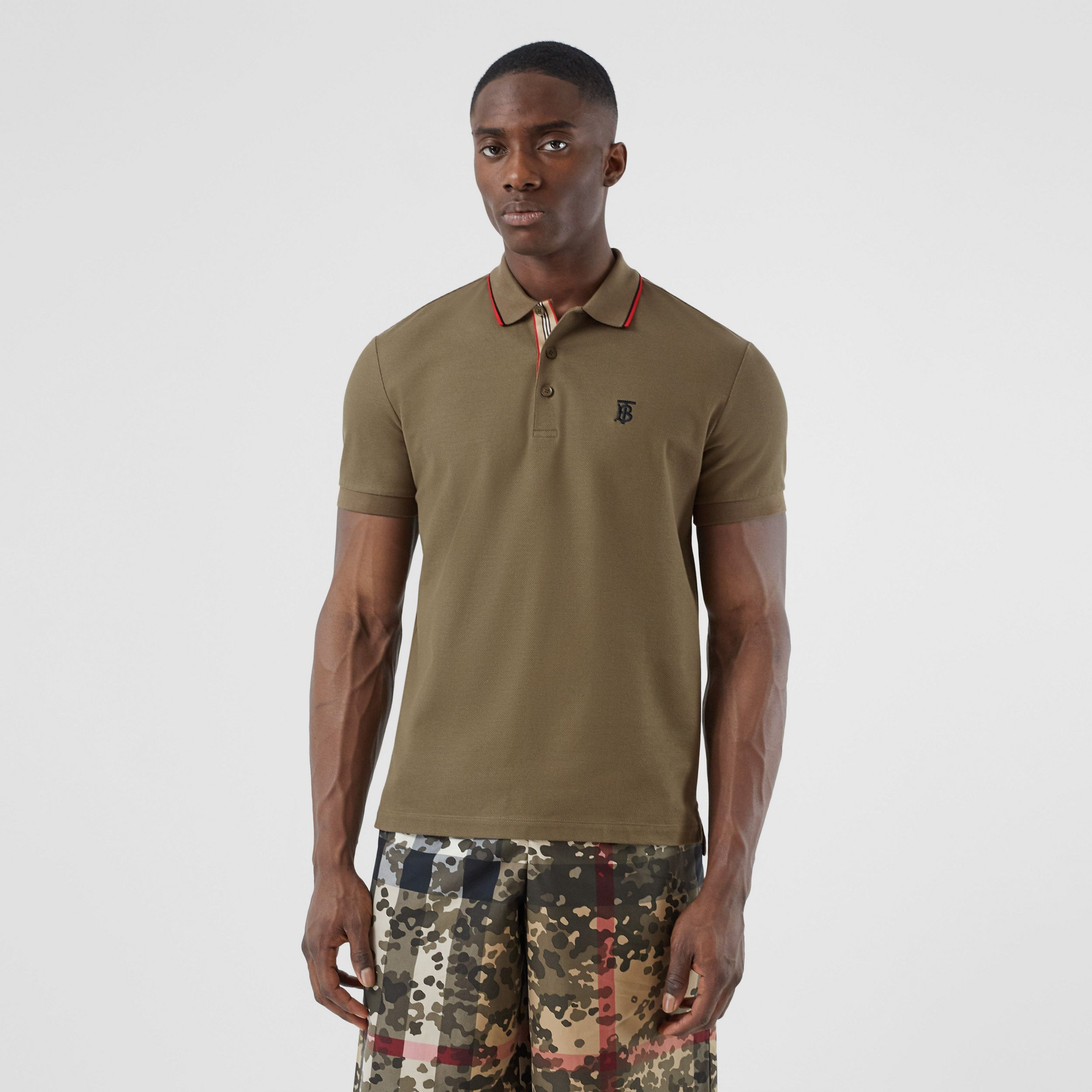 Monogram Motif Cotton Piqué Polo Shirt in Deep Khaki - Men | Burberry - 1