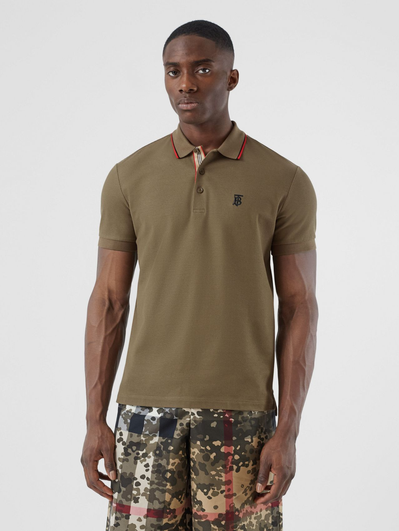 Monogram Motif Cotton Piqué Polo Shirt in Deep Khaki