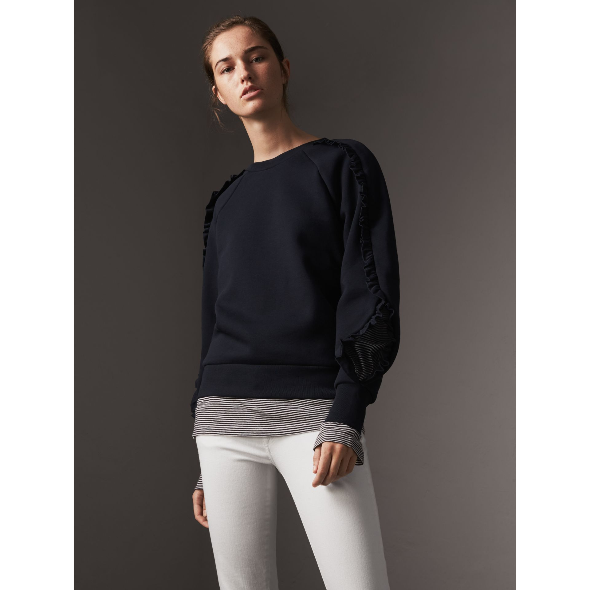 Ruffle-sleeve Sweatshirt in Navy - Women | Burberry - gallery image 0