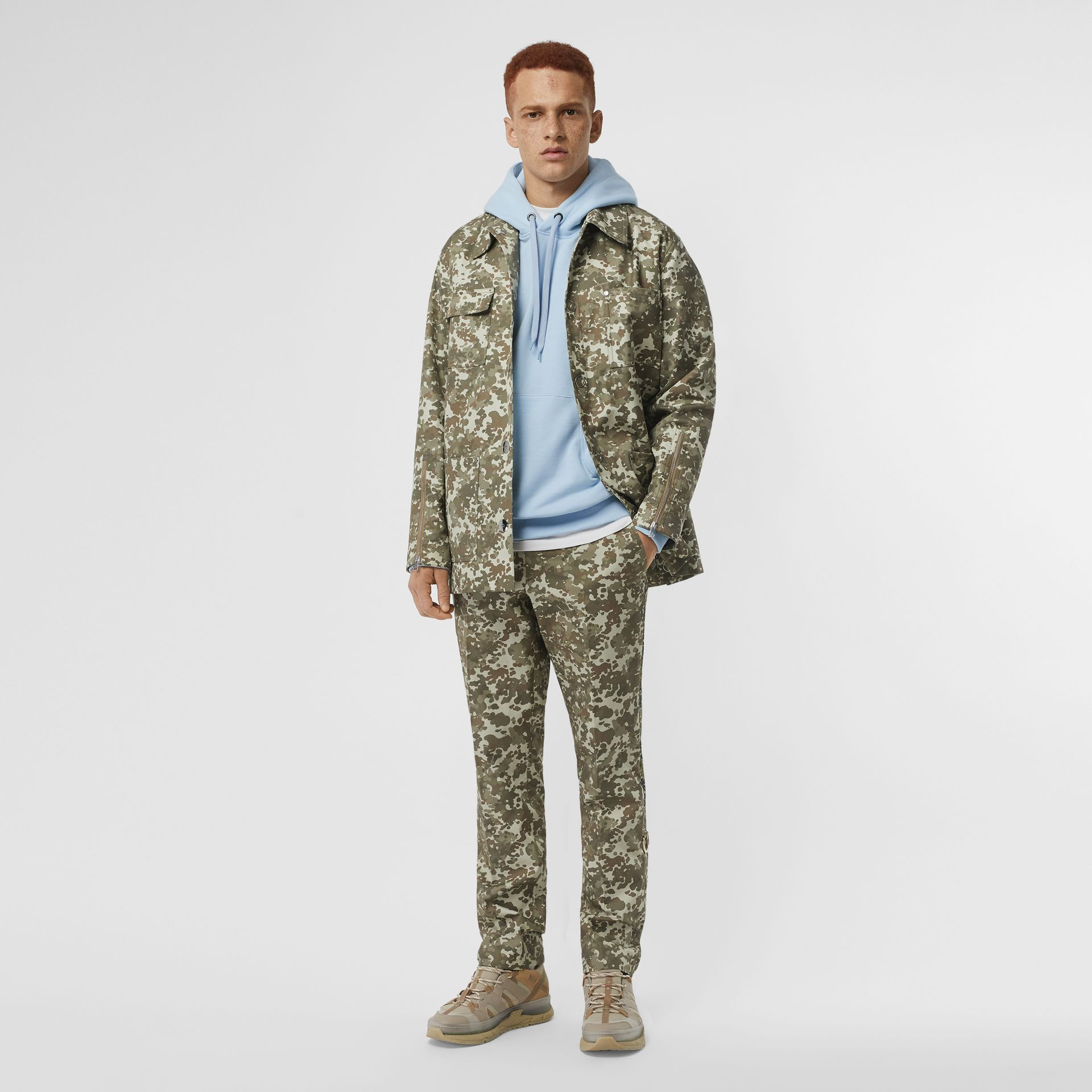 Camouflage Print Cotton Gabardine Jacket in Khaki Green - Men | Burberry - gallery image 0