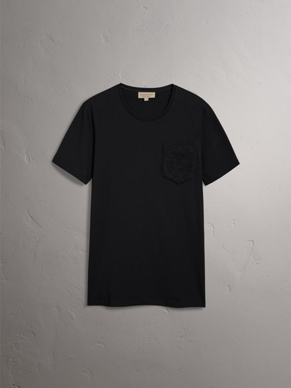 Rope Embroidered Pocket Cotton T-shirt in Black - Men | Burberry United Kingdom - cell image 3