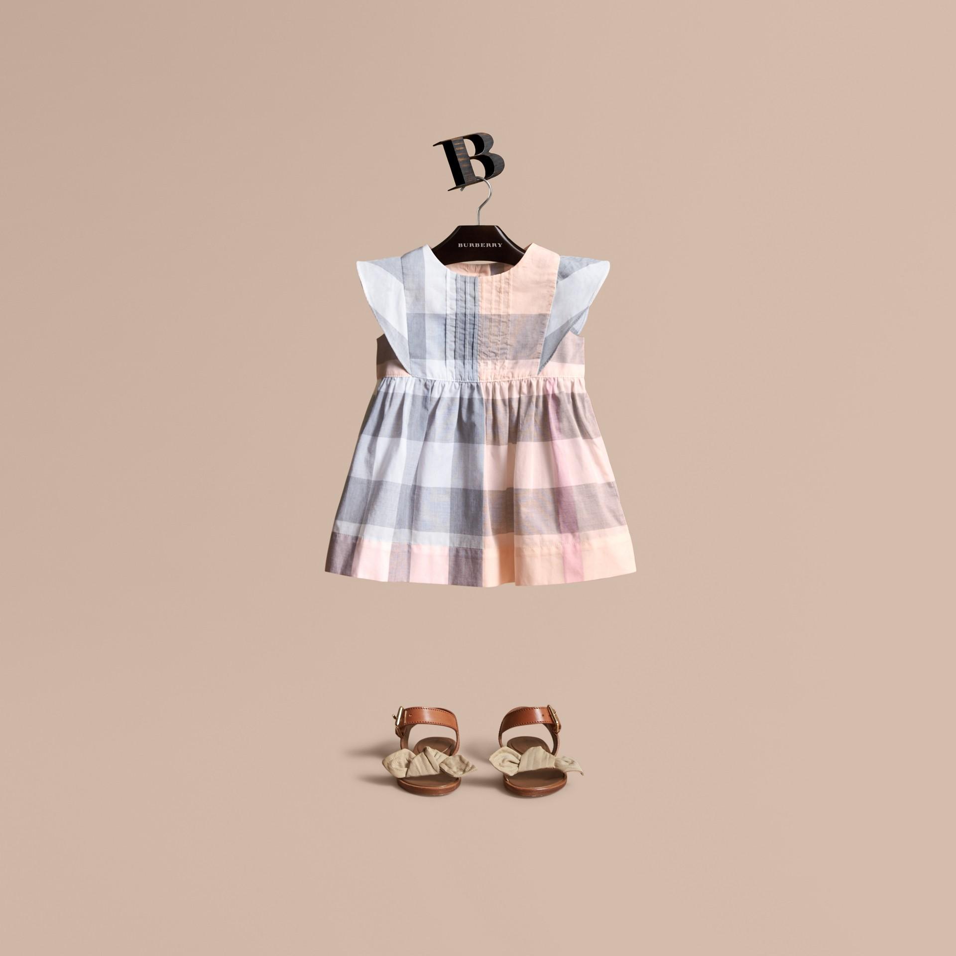 Ruffle Detail Check Cotton Dress Apricot - gallery image 1
