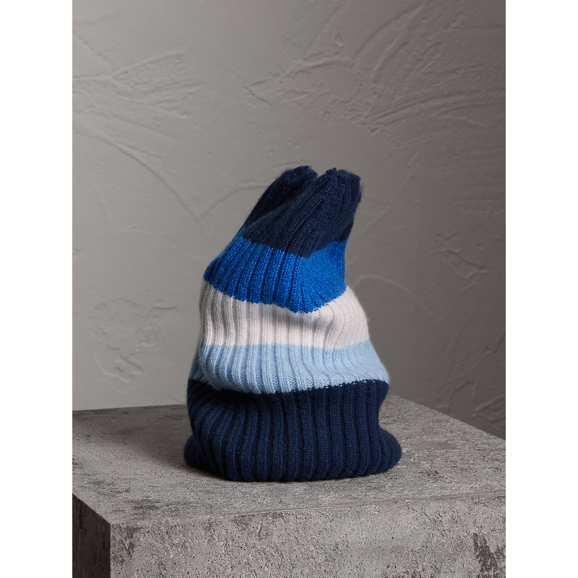 Striped Cashmere Open-top Beanie in Sky Blue | Burberry - gallery image 0
