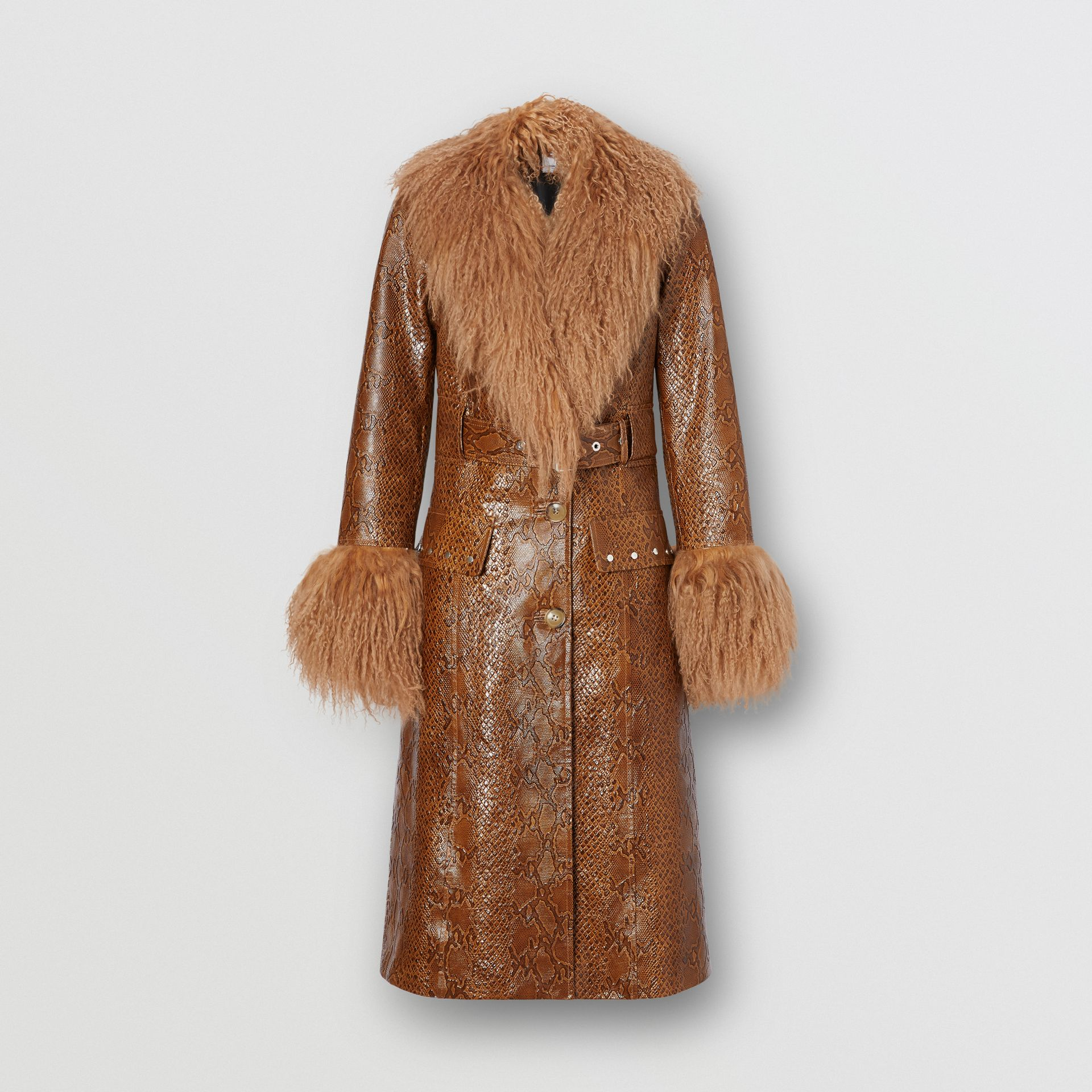 Shearling Trim Python Print Leather Coat in Brown - Women | Burberry United Kingdom - gallery image 3