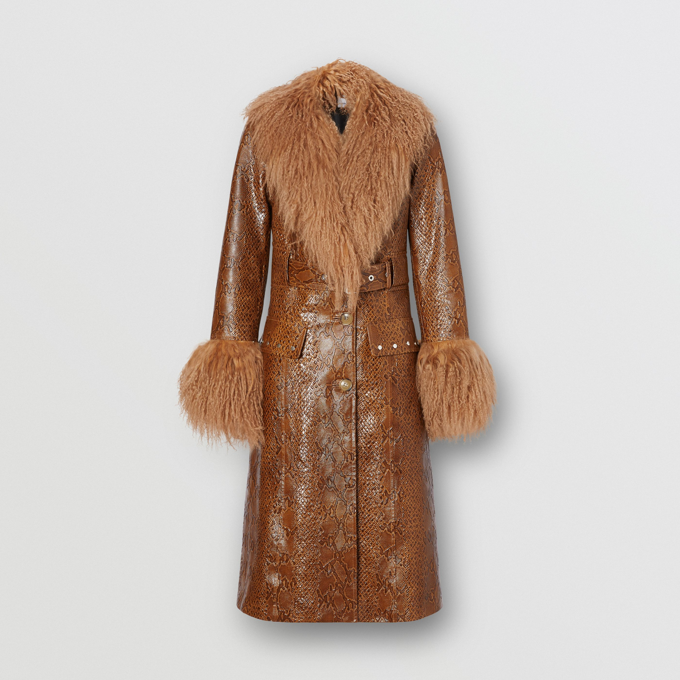 Cappotto in pelle con stampa pitone e finiture in shearling (Marrone) - Donna | Burberry - 4