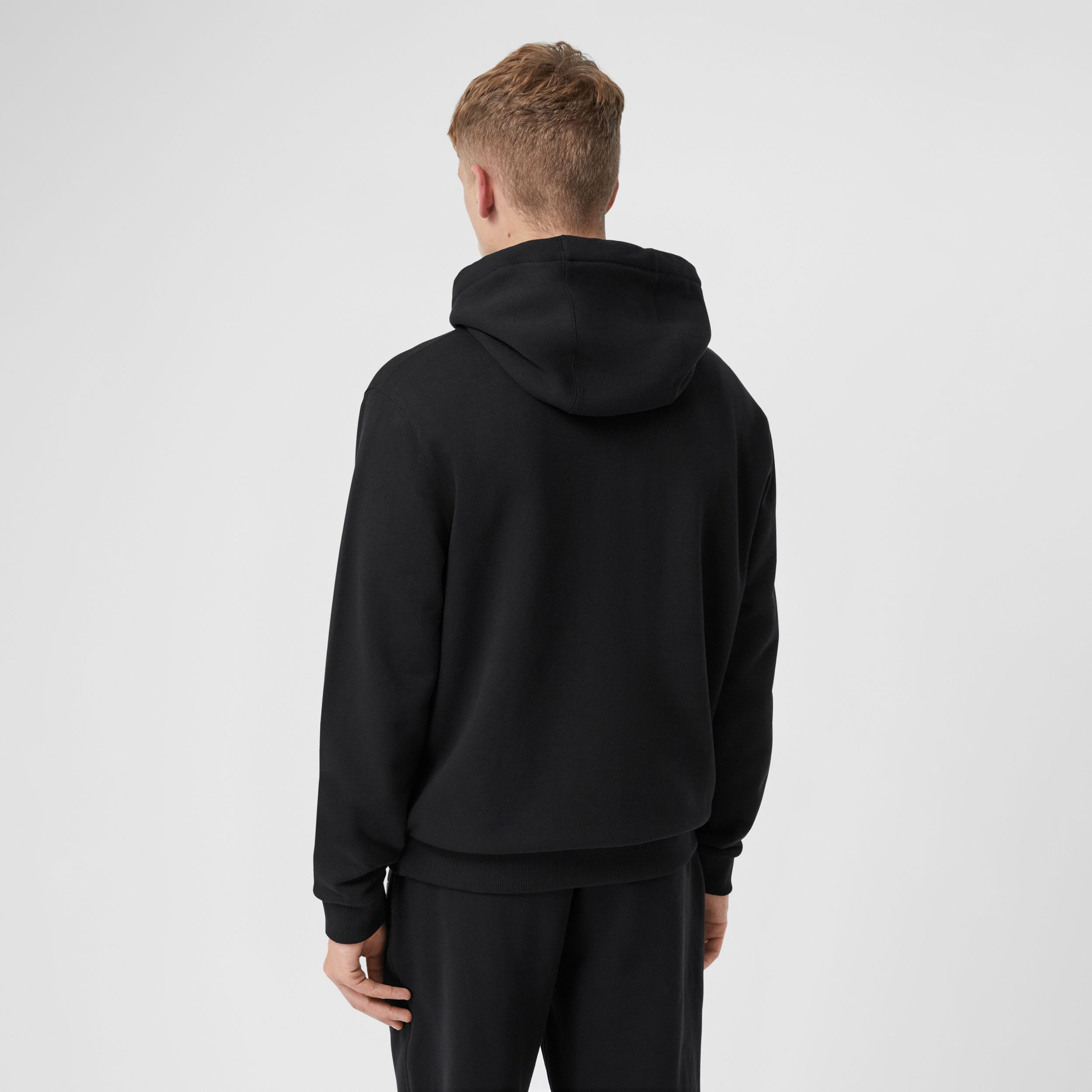 Logo Appliqué Cotton Hoodie in Black - Men | Burberry - 3