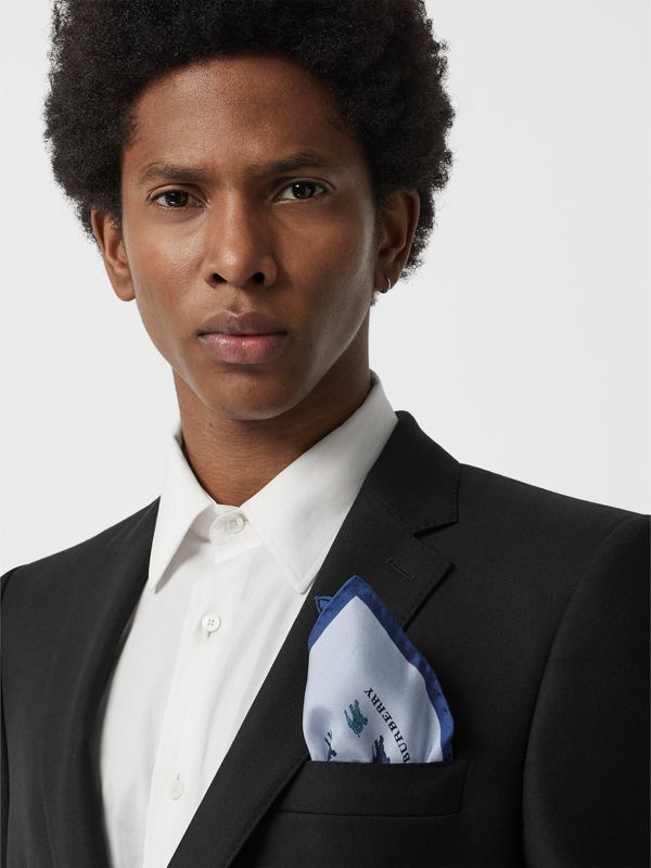 Equestrian Knight Print Silk Pocket Square in Light Blue - Men | Burberry - cell image 2