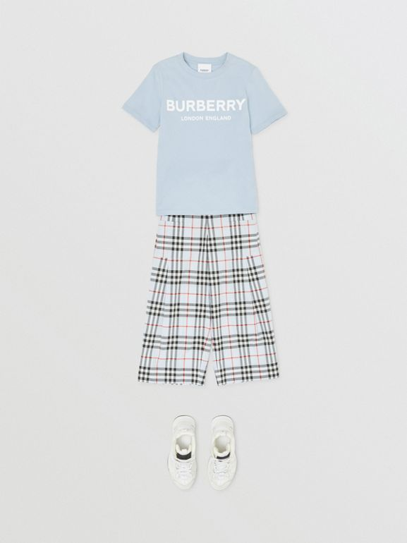 Logo Print Cotton T-shirt in Light Blue | Burberry - cell image 1