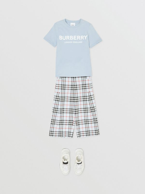 Logo Print Cotton T-shirt in Light Blue | Burberry Australia - cell image 2