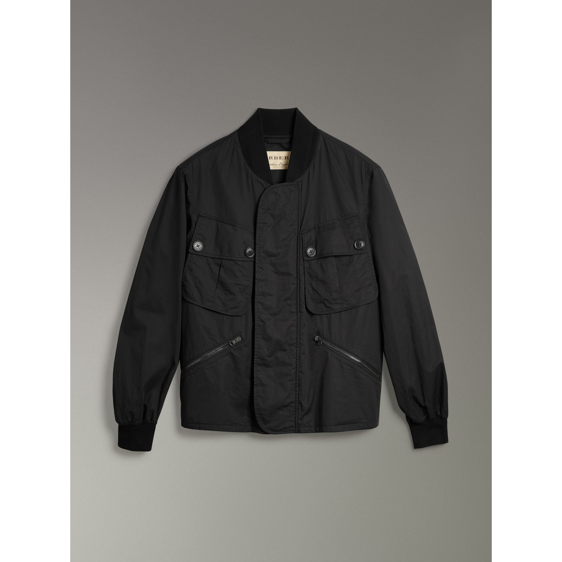 Pocket Detail Cotton Bomber Jacket in Black - Men | Burberry Singapore - gallery image 3