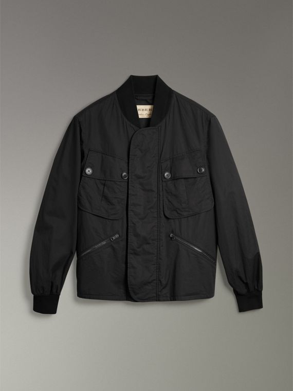 Pocket Detail Cotton Bomber Jacket in Black - Men | Burberry Singapore - cell image 3