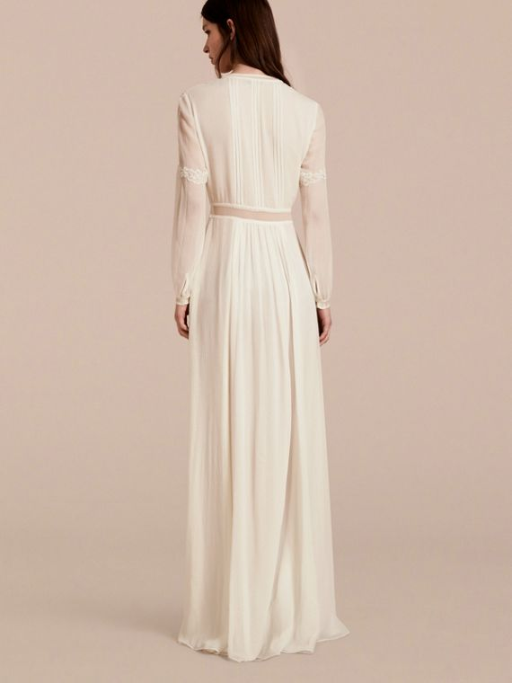 Lace Detail Silk Crepon Floor-length Dress in White - Women | Burberry - cell image 2