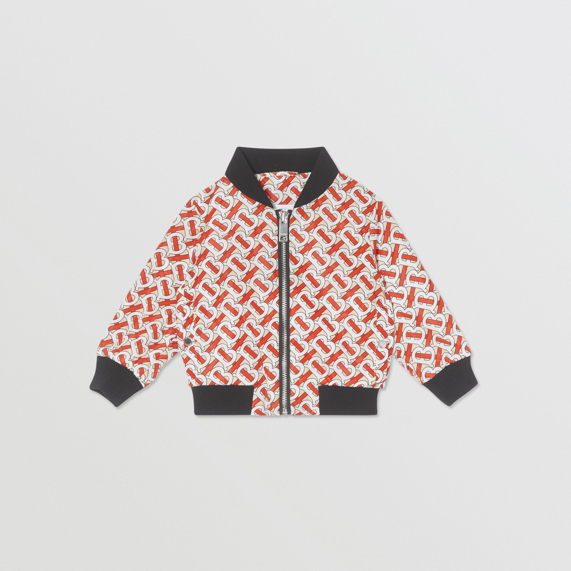 Monogram Print Nylon Bomber Jacket in Vermilion Red - Children | Burberry United States - gallery image 0