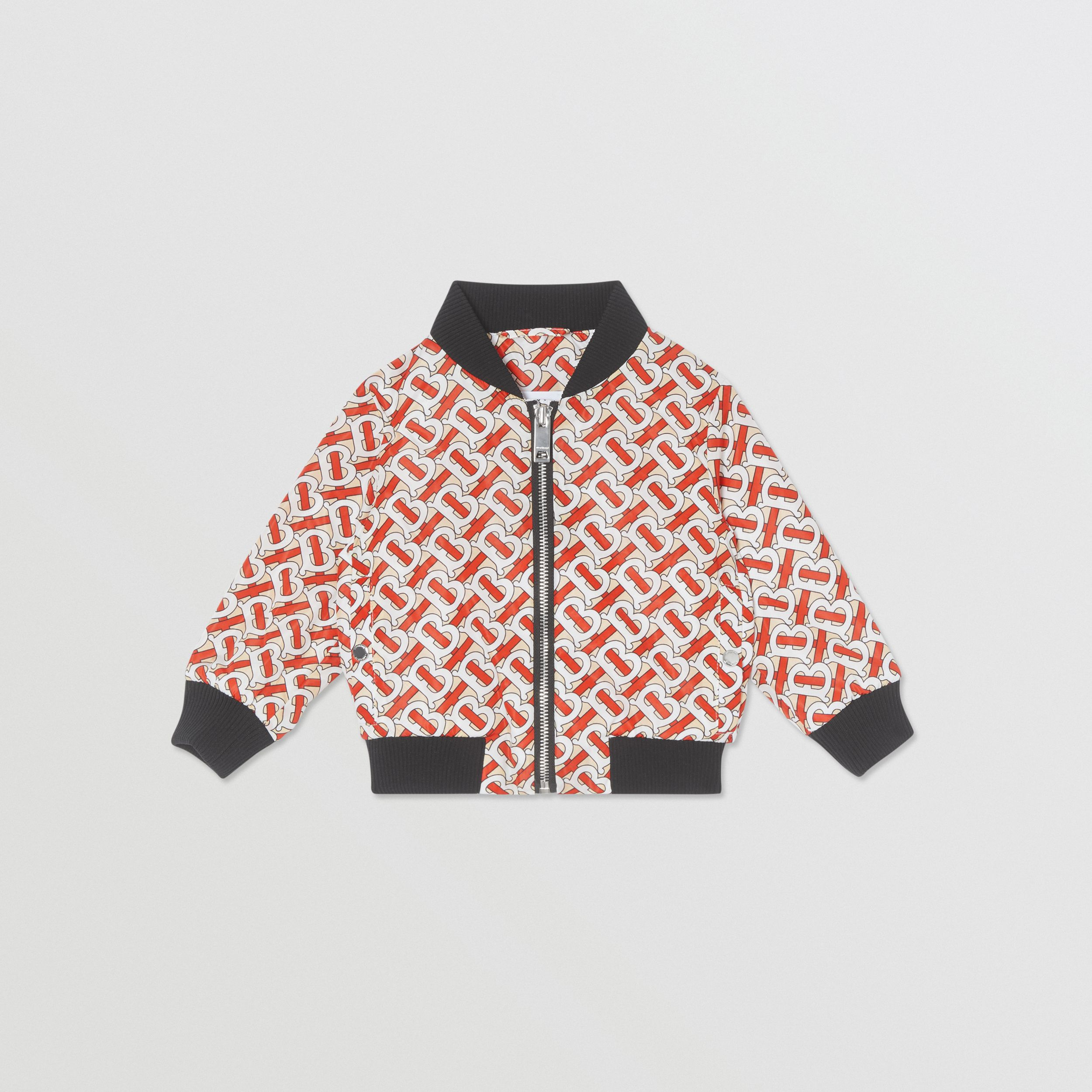 Monogram Print Nylon Bomber Jacket in Vermilion Red - Children | Burberry - 1
