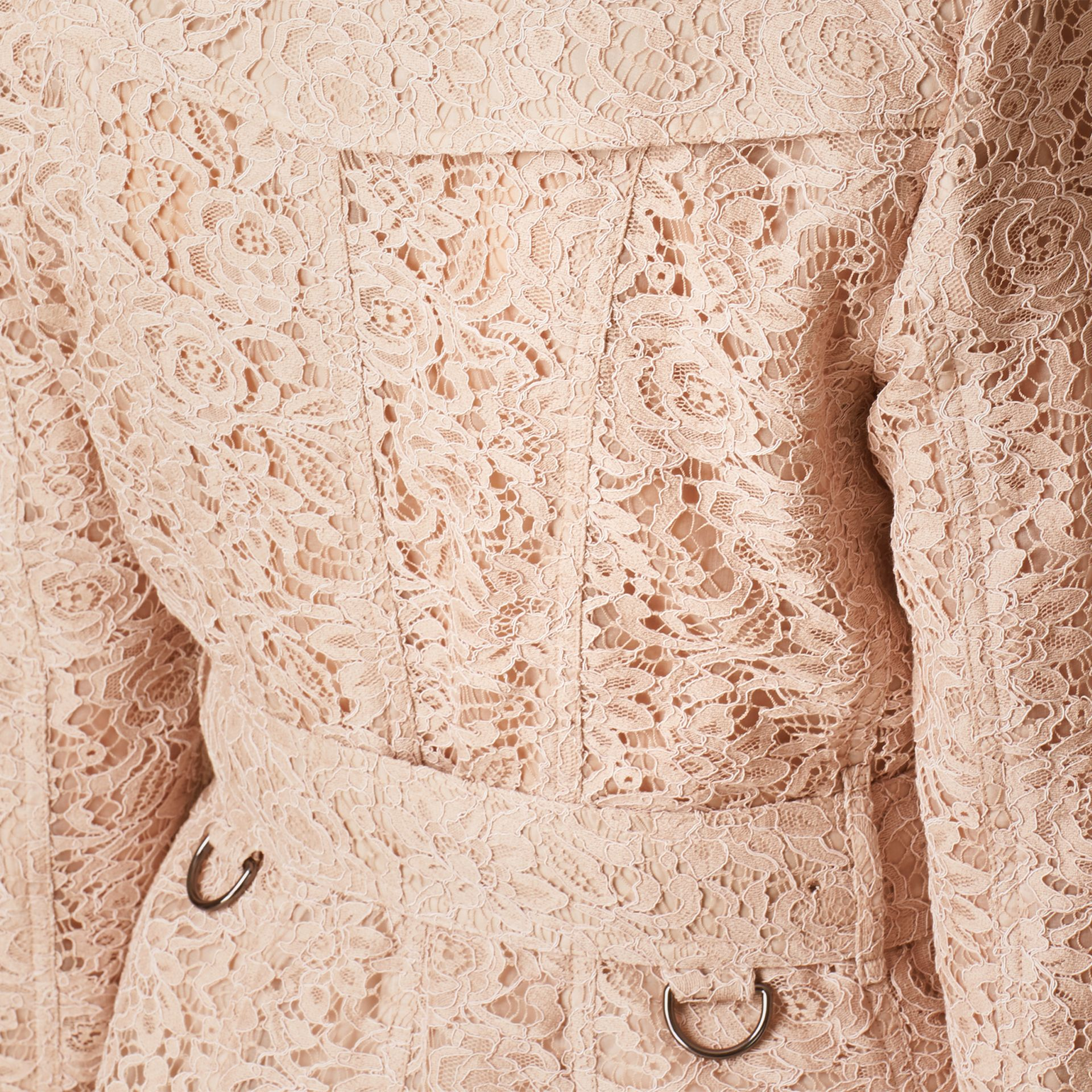 Antique taupe pink Scalloped-hem Italian Lace Trench Coat Antique Taupe Pink - gallery image 5