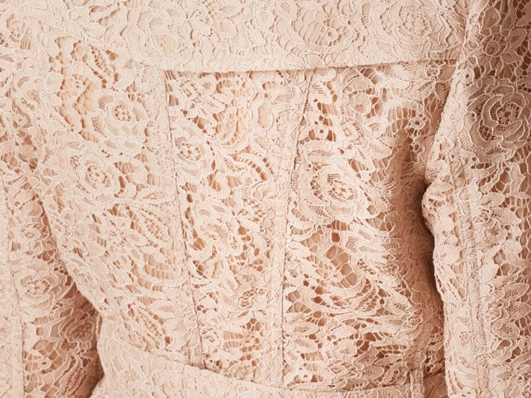 Antique taupe pink Scalloped-hem Italian Lace Trench Coat Antique Taupe Pink - cell image 4