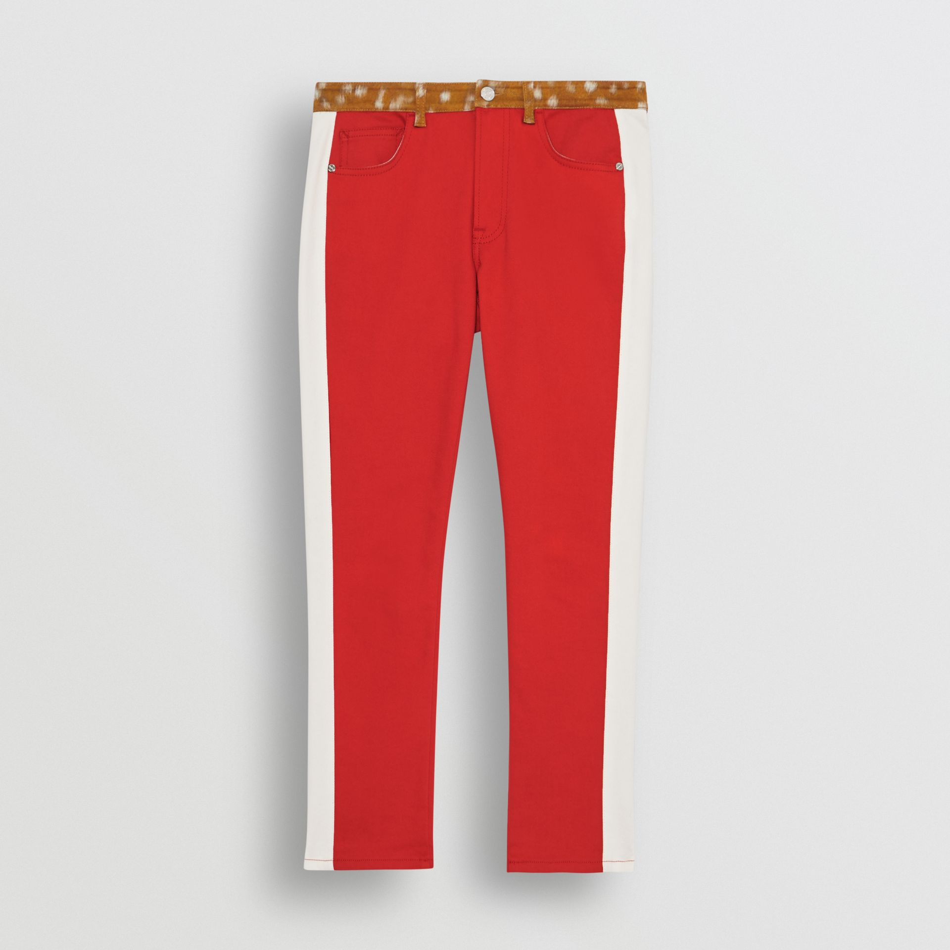 Straight Fit Deer Print Trim Japanese Denim Jeans in Bright Red - Women | Burberry - gallery image 3