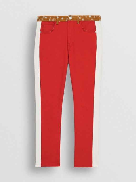 Straight Fit Deer Print Trim Japanese Denim Jeans in Bright Red