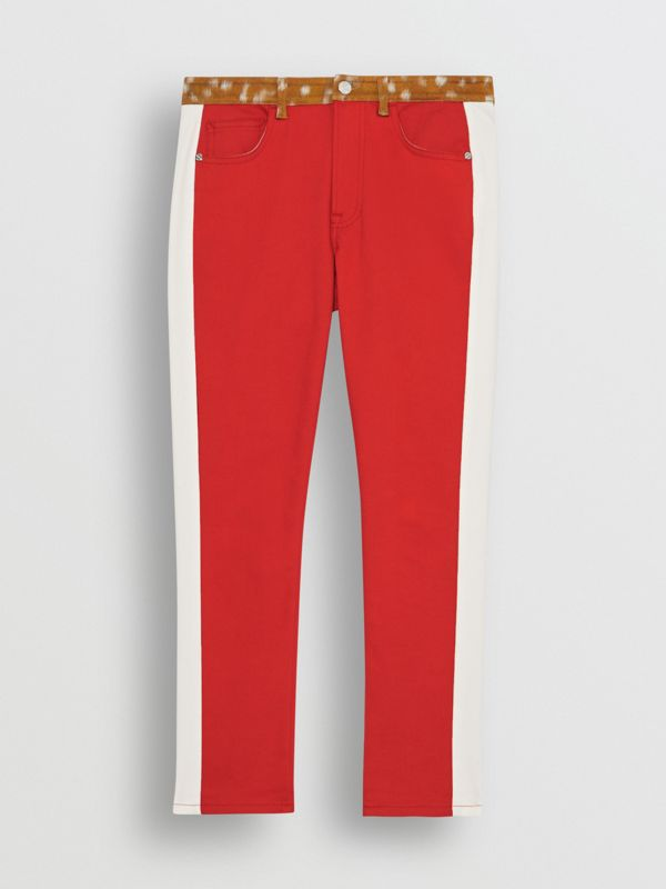 Straight Fit Deer Print Trim Japanese Denim Jeans in Bright Red - Women | Burberry - cell image 3
