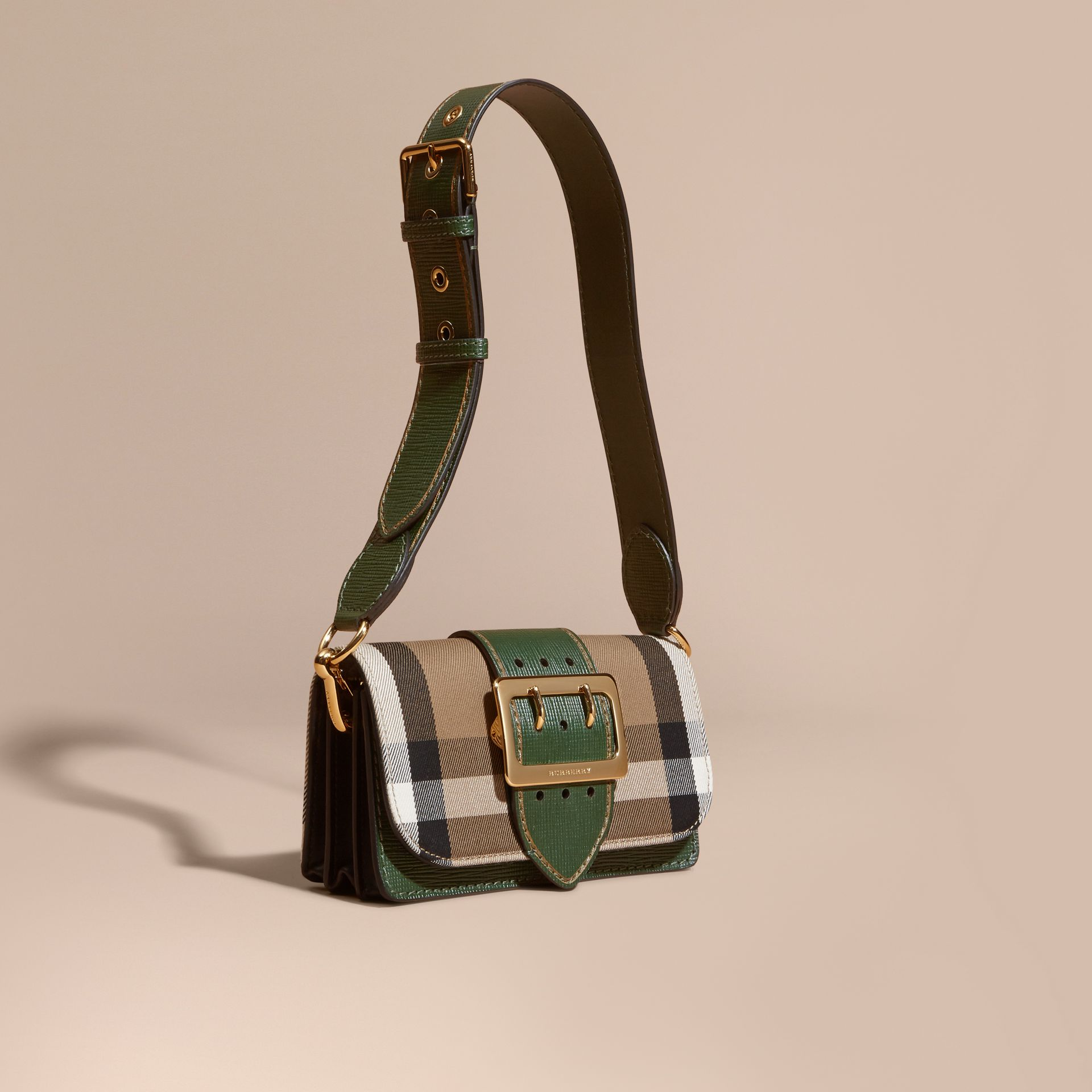 The Small Buckle Bag in House Check and Leather in Kelly Green/kelly Green - Women | Burberry Canada - gallery image 8