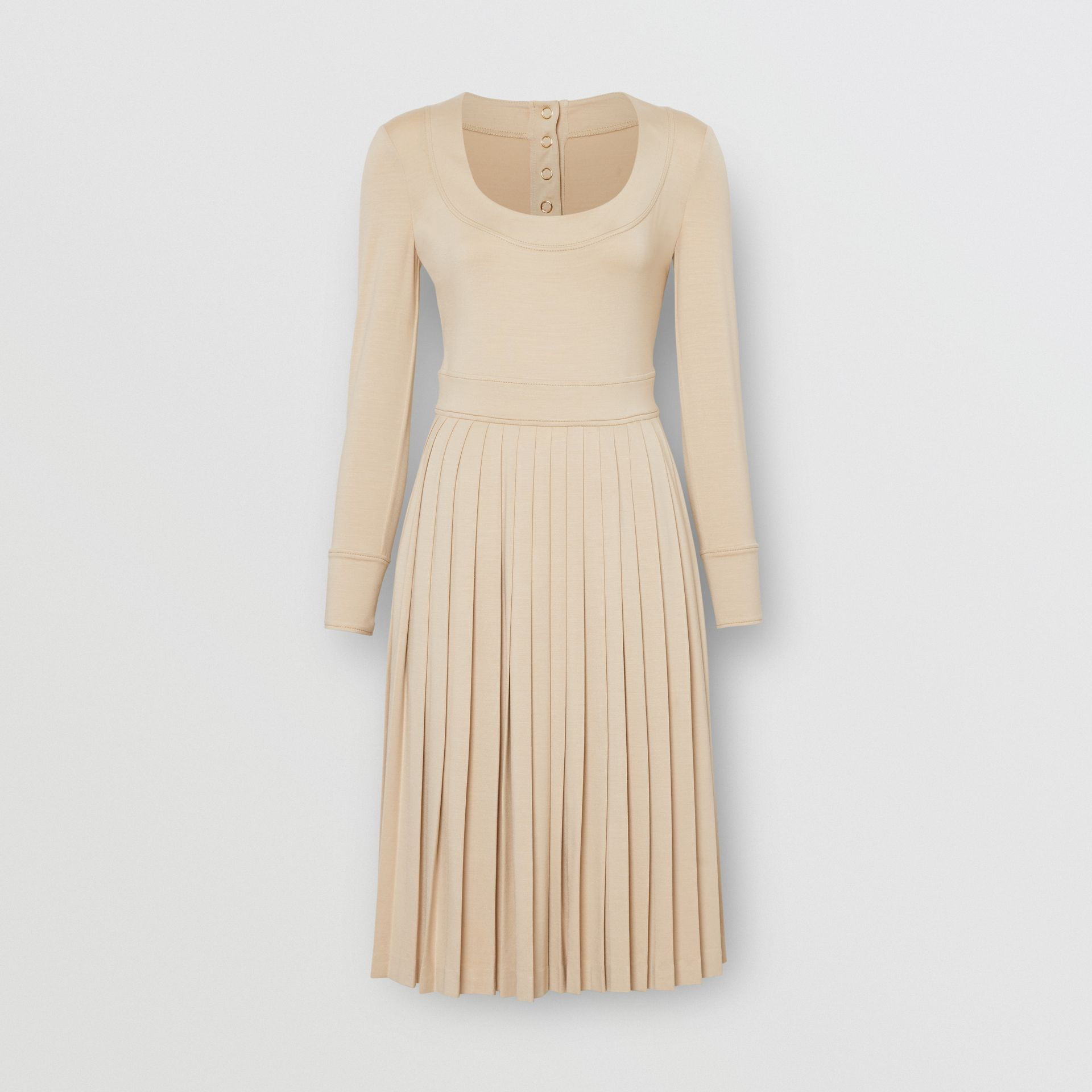 Long-sleeve Pleated Dress in Teddy Beige - Women | Burberry - gallery image 3
