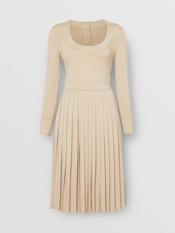 Long-sleeve Pleated Dress in Teddy Beige - Women | Burberry Hong Kong S.A.R - cell image 3