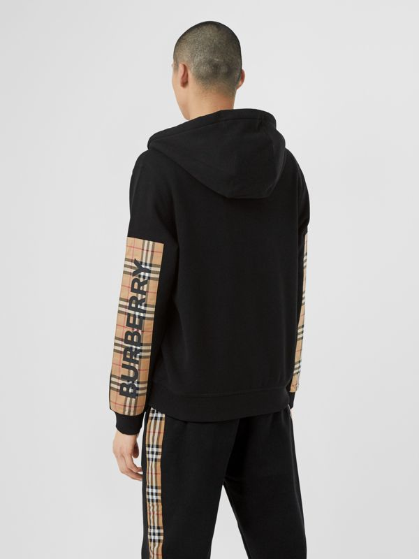 Logo Print Vintage Check Panel Cotton Hooded Top in Black - Men | Burberry - cell image 2