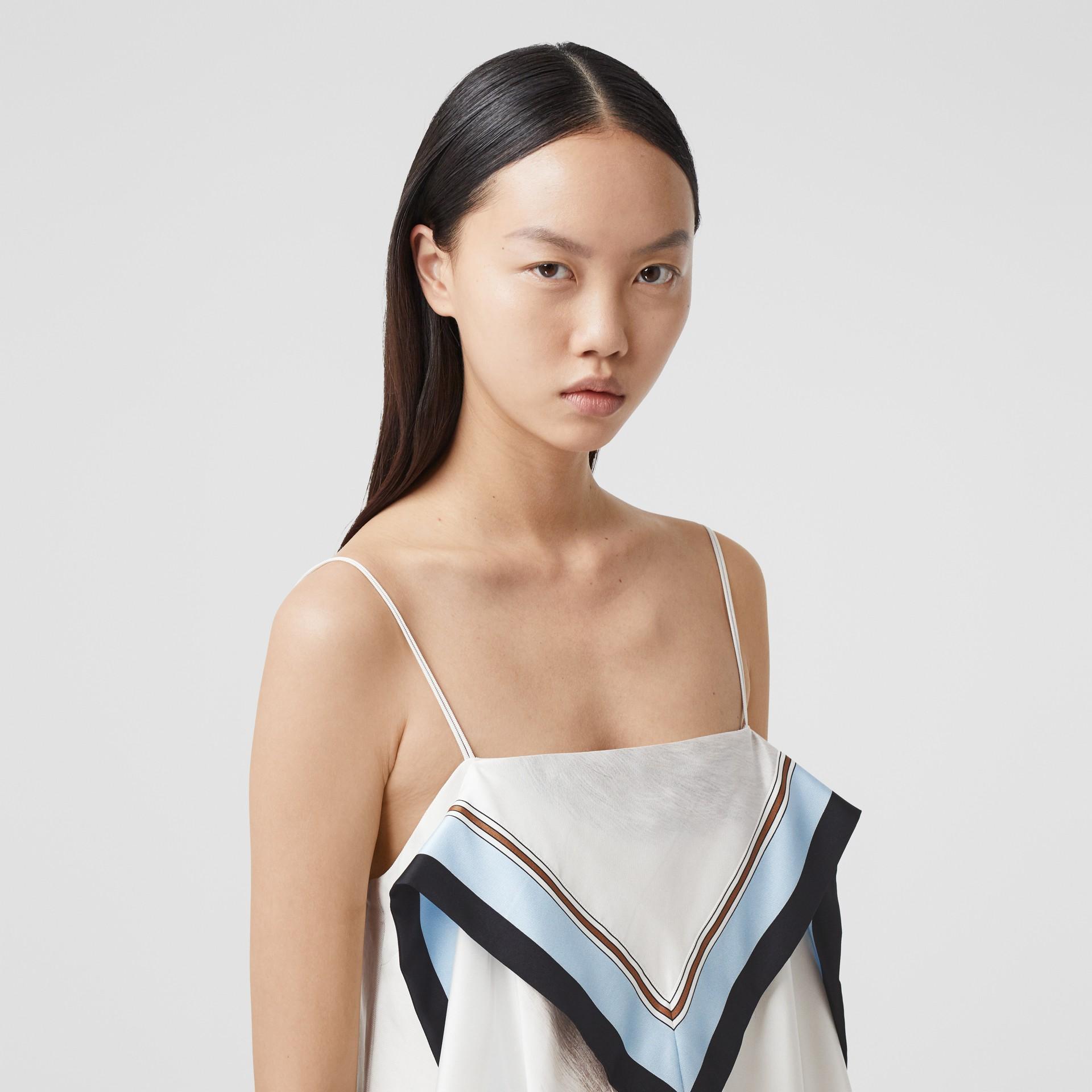 Animalia Print Silk Scarf Dress in Porcelain - Women | Burberry - gallery image 1