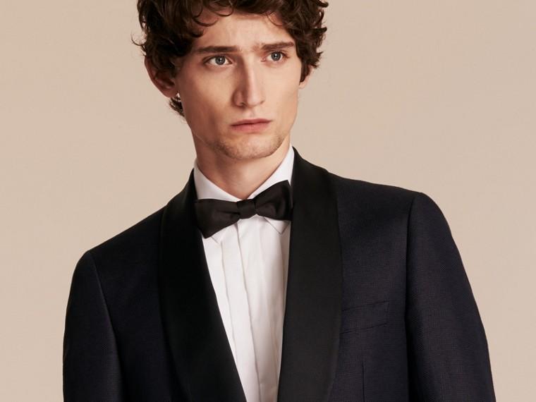 Slim Fit Shawl Lapel Linen Silk Evening Jacket Navy - cell image 4