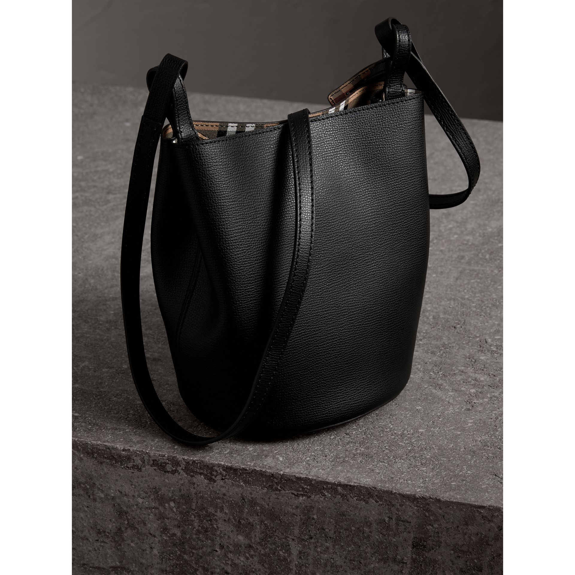 Leather and Haymarket Check Crossbody Bucket Bag in Black - Women | Burberry United Kingdom - gallery image 4