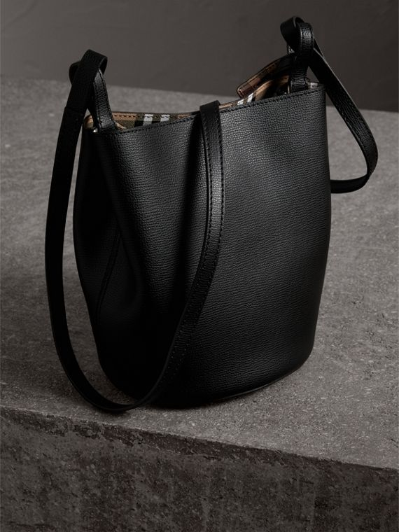 Leather and Haymarket Check Crossbody Bucket Bag in Black - Women | Burberry United Kingdom - cell image 3